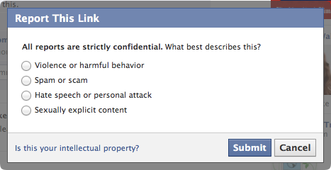 Facebook spam options